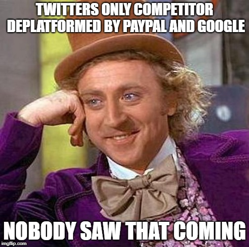 It was only a matter of time | TWITTERS ONLY COMPETITOR DEPLATFORMED BY PAYPAL AND GOOGLE NOBODY SAW THAT COMING | image tagged in google,paypal,stupid liberals,liberal hypocrisy,free speech,censorship | made w/ Imgflip meme maker