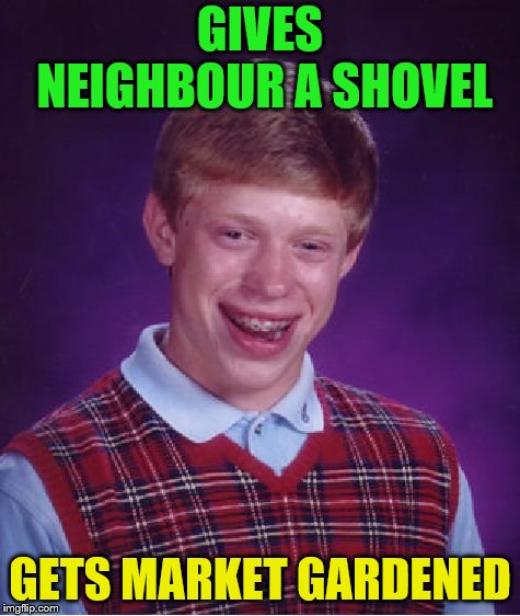 Bad Luck Brian Meme | GIVES NEIGHBOUR A SHOVEL GETS MARKET GARDENED | image tagged in memes,bad luck brian | made w/ Imgflip meme maker