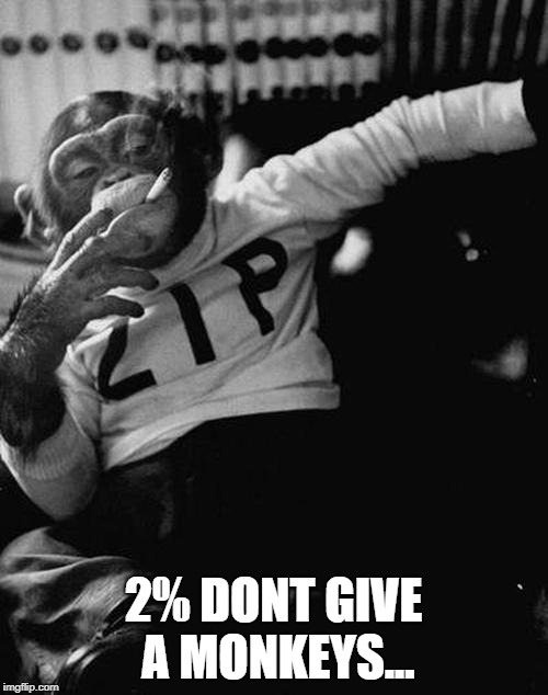 smoking monkey  | 2% DONT GIVE A MONKEYS... | image tagged in smoking monkey | made w/ Imgflip meme maker