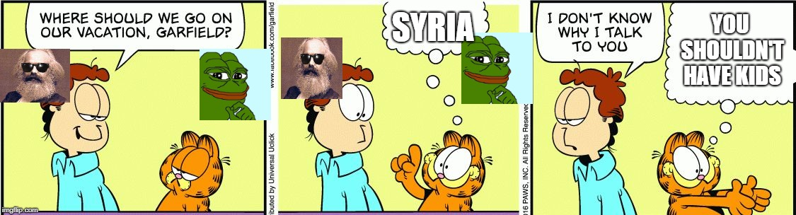 Syria Seems Nice Enough | SYRIA YOU SHOULDN'T HAVE KIDS | image tagged in garfield comic vacation,news paper comic week,pepe,karl marx,syria | made w/ Imgflip meme maker
