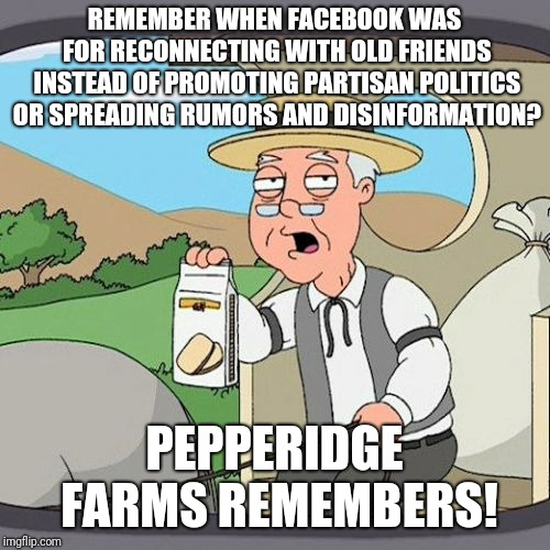 Pepperidge Farm Remembers | REMEMBER WHEN FACEBOOK WAS FOR RECONNECTING WITH OLD FRIENDS INSTEAD OF PROMOTING PARTISAN POLITICS OR SPREADING RUMORS AND DISINFORMATION?  | image tagged in memes,pepperidge farm remembers | made w/ Imgflip meme maker