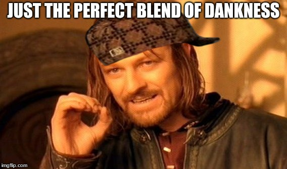 One Does Not Simply | JUST THE PERFECT BLEND OF DANKNESS | image tagged in memes,one does not simply,scumbag | made w/ Imgflip meme maker