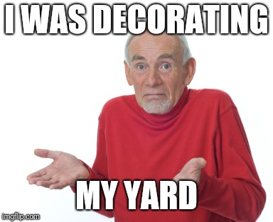 Old Man Shrugging | I WAS DECORATING MY YARD | image tagged in old man shrugging | made w/ Imgflip meme maker
