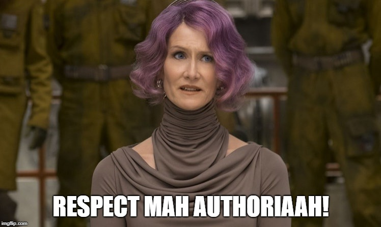RESPECT MAH AUTHORIAAH! | image tagged in holdo | made w/ Imgflip meme maker