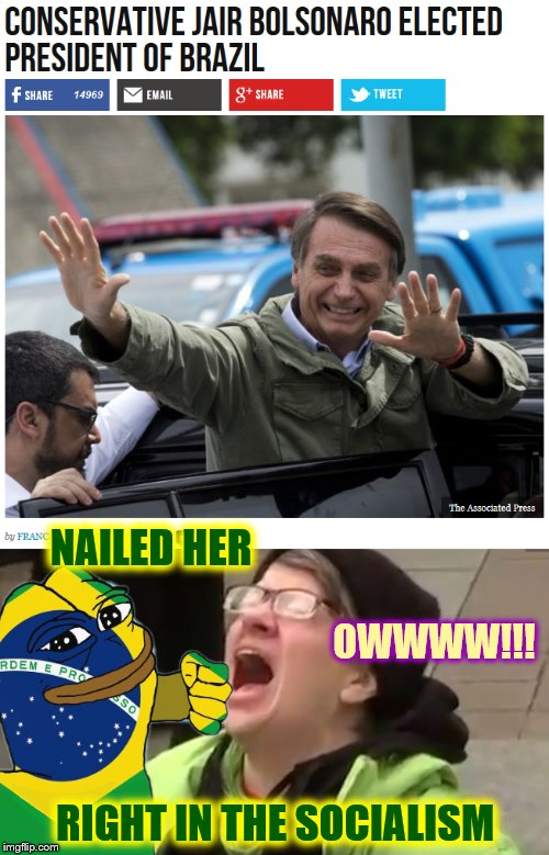 A Knockout Blow | OWWWW!!! NAILED HER RIGHT IN THE SOCIALISM | image tagged in brazil,phunny,theelliot,bolsonaro,pepe,memes | made w/ Imgflip meme maker