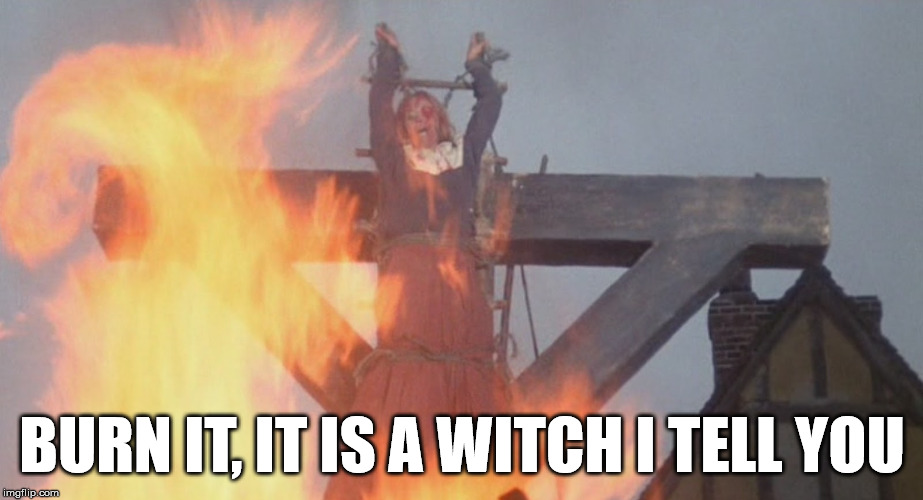 burn witch | BURN IT, IT IS A WITCH I TELL YOU | image tagged in burn witch | made w/ Imgflip meme maker