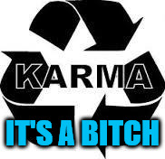 karma  | IT'S A B**CH | image tagged in karma | made w/ Imgflip meme maker