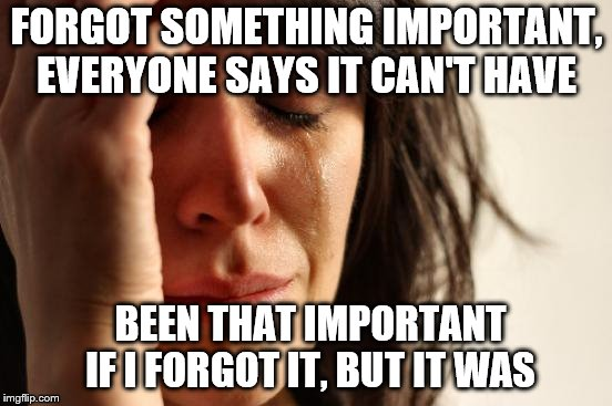 Why does this happen every time?? | FORGOT SOMETHING IMPORTANT, EVERYONE SAYS IT CAN'T HAVE BEEN THAT IMPORTANT IF I FORGOT IT, BUT IT WAS | image tagged in memes,first world problems,forget,important | made w/ Imgflip meme maker