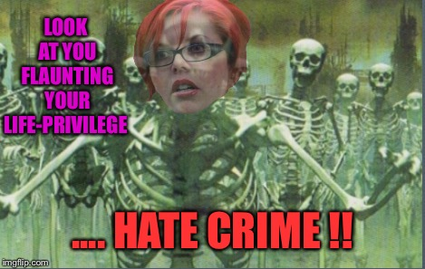 LOOK AT YOU FLAUNTING YOUR LIFE-PRIVILEGE .... HATE CRIME !! | made w/ Imgflip meme maker