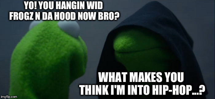 Evil Kermit Meme |  YO! YOU HANGIN WID FROGZ N DA HOOD NOW BRO? WHAT MAKES YOU THINK I'M INTO HIP-HOP...? | image tagged in memes,evil kermit | made w/ Imgflip meme maker
