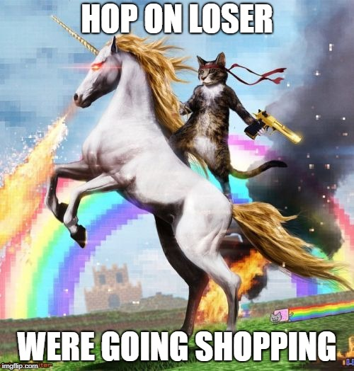 Welcome To The Internets | HOP ON LOSER WERE GOING SHOPPING | image tagged in memes,welcome to the internets | made w/ Imgflip meme maker