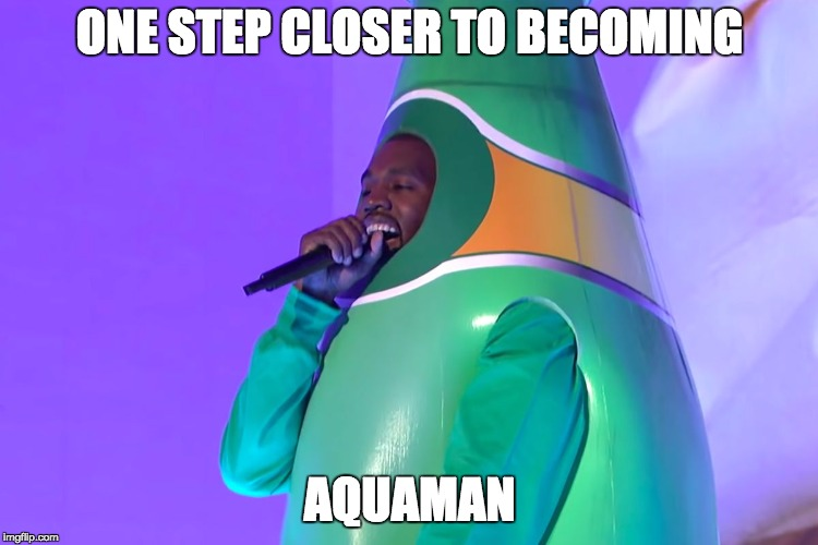 Perrier man | ONE STEP CLOSER TO BECOMING AQUAMAN | image tagged in perrier ye,kanye,water,aquaman,maniac | made w/ Imgflip meme maker