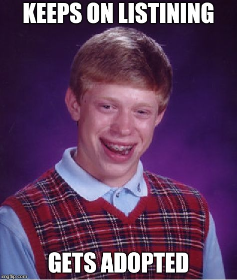 Bad Luck Brian Meme | KEEPS ON LISTINING GETS ADOPTED | image tagged in memes,bad luck brian | made w/ Imgflip meme maker