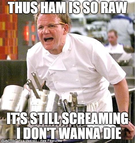 Chef Gordon Ramsay Meme | THUS HAM IS SO RAW IT'S STILL SCREAMING I DON'T WANNA DIE | image tagged in memes,chef gordon ramsay | made w/ Imgflip meme maker