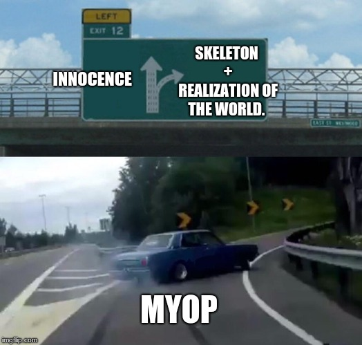Left Exit 12 Off Ramp Meme | INNOCENCE SKELETON + REALIZATION OF THE WORLD. MYOP | image tagged in memes,left exit 12 off ramp | made w/ Imgflip meme maker