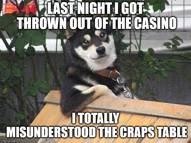 dog not always | LAST NIGHT I GOT THROWN OUT OF THE CASINO I TOTALLY MISUNDERSTOOD THE CRAPS TABLE | image tagged in dog not always | made w/ Imgflip meme maker