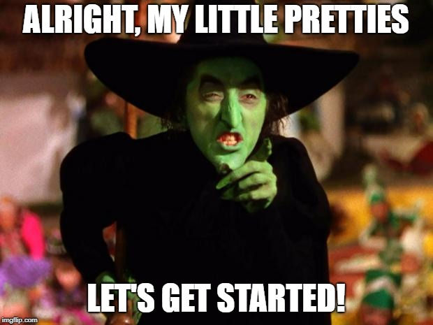 wicked witch  | ALRIGHT, MY LITTLE PRETTIES LET'S GET STARTED! | image tagged in wicked witch | made w/ Imgflip meme maker