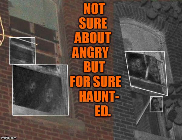 NOT SURE   ABOUT   ANGRY      BUT   FOR SURE    HAUNT-       ED. | made w/ Imgflip meme maker