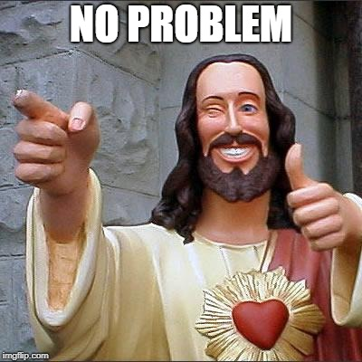 Buddy Christ Meme | NO PROBLEM | image tagged in memes,buddy christ | made w/ Imgflip meme maker
