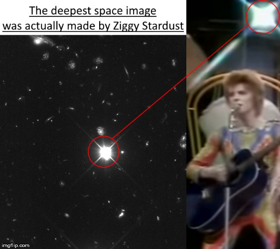Did humans ever go into space??? | image tagged in ziggy stardust,david bowie,space,nasa,moon | made w/ Imgflip meme maker