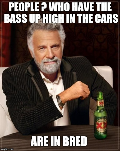 The Most Interesting Man In The World Meme | PEOPLE ? WHO HAVE THE BASS UP HIGH IN THE CARS ARE IN BRED | image tagged in memes,the most interesting man in the world | made w/ Imgflip meme maker