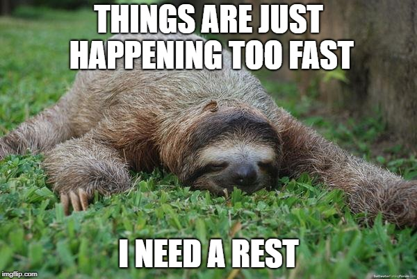 My old Dad when I suggest something out of the blue... | THINGS ARE JUST HAPPENING TOO FAST I NEED A REST | image tagged in sleeping sloth,panic attack,slow motion,slowpoke | made w/ Imgflip meme maker