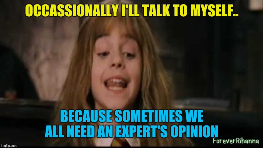hermione | OCCASSIONALLY I'LL TALK TO MYSELF.. BECAUSE SOMETIMES WE ALL NEED AN EXPERT'S OPINION | image tagged in hermione | made w/ Imgflip meme maker