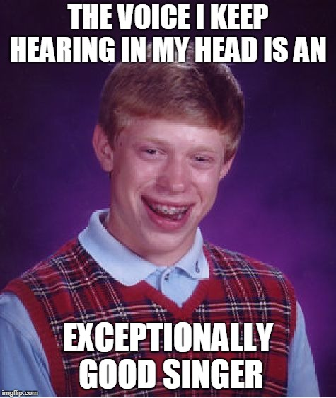 Bad Luck Brian Meme | THE VOICE I KEEP HEARING IN MY HEAD IS AN EXCEPTIONALLY GOOD SINGER | image tagged in memes,bad luck brian | made w/ Imgflip meme maker
