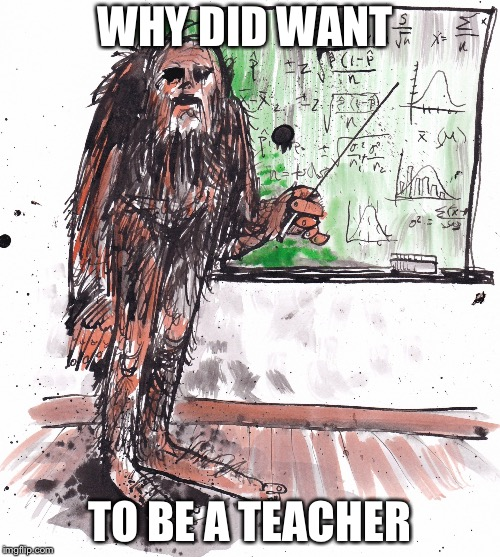Mr.Bigfoot | WHY DID WANT TO BE A TEACHER | image tagged in mrbigfoot | made w/ Imgflip meme maker