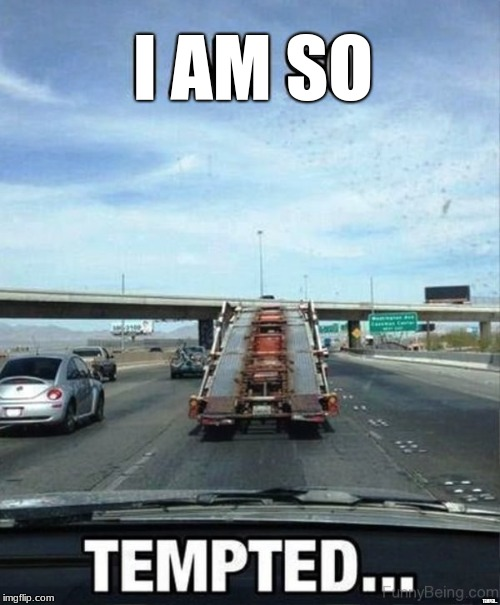 Temptation is real, so be careful on the road drivers | I AM SO TEMPED... | image tagged in temptation,cars,funny,funny memes,google images,memes | made w/ Imgflip meme maker