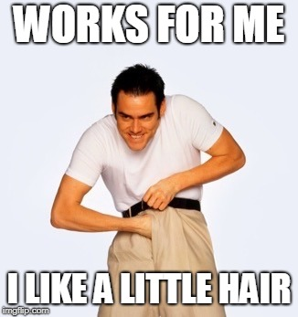 Jim Carey  | WORKS FOR ME I LIKE A LITTLE HAIR | image tagged in jim carey | made w/ Imgflip meme maker