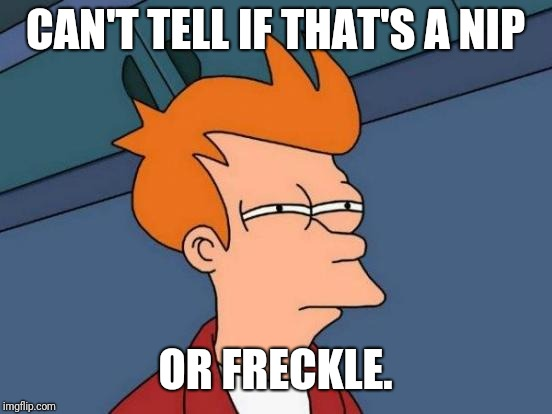 Futurama Fry Meme | CAN'T TELL IF THAT'S A NIP OR FRECKLE. | image tagged in memes,futurama fry | made w/ Imgflip meme maker