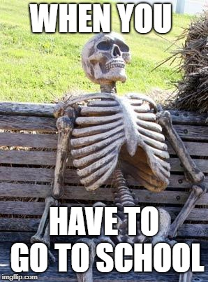 Waiting Skeleton Meme | WHEN YOU HAVE TO GO TO SCHOOL | image tagged in memes,waiting skeleton | made w/ Imgflip meme maker