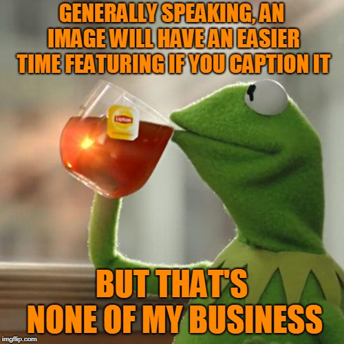 But Thats None Of My Business Meme | GENERALLY SPEAKING, AN IMAGE WILL HAVE AN EASIER TIME FEATURING IF YOU CAPTION IT BUT THAT'S NONE OF MY BUSINESS | image tagged in memes,but thats none of my business,kermit the frog | made w/ Imgflip meme maker