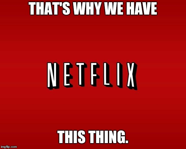 scumbag netflix | THAT'S WHY WE HAVE THIS THING. | image tagged in scumbag netflix | made w/ Imgflip meme maker