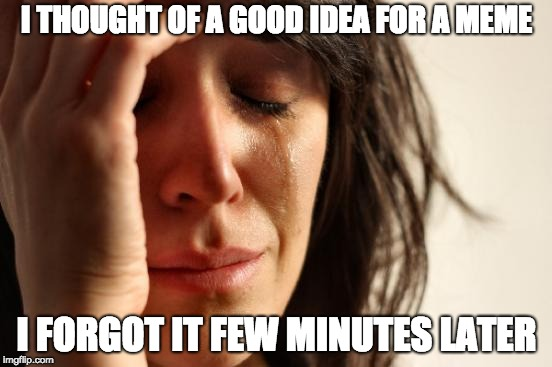 This actually happened to me often |  I THOUGHT OF A GOOD IDEA FOR A MEME; I FORGOT IT FEW MINUTES LATER | image tagged in memes,first world problems,memers,memory | made w/ Imgflip meme maker
