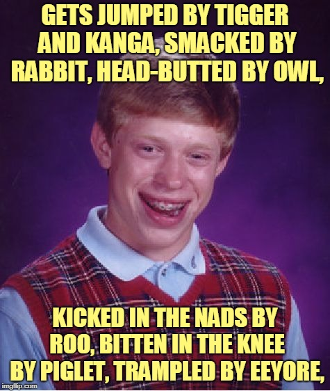 Bad Luck Brian Meme | GETS JUMPED BY TIGGER AND KANGA, SMACKED BY RABBIT, HEAD-BUTTED BY OWL, KICKED IN THE NADS BY ROO, BITTEN IN THE KNEE BY PIGLET, TRAMPLED BY | image tagged in memes,bad luck brian | made w/ Imgflip meme maker
