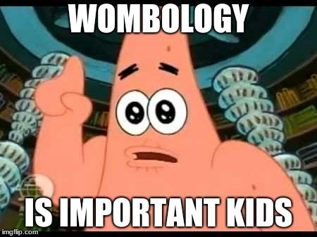 Patrick Says | WOMBOLOGY IS IMPORTANT KIDS | image tagged in memes,patrick says | made w/ Imgflip meme maker
