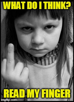 Making a Point | WHAT DO I THINK? READ MY FINGER | image tagged in little girl,flipping off | made w/ Imgflip meme maker