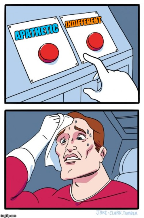 Two Buttons Meme | APATHETIC INDIFFERENT | image tagged in memes,two buttons | made w/ Imgflip meme maker