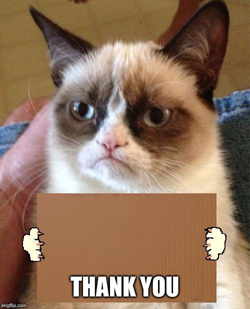 Grumpy Cat Cardboard Sign | THANK YOU | image tagged in grumpy cat cardboard sign | made w/ Imgflip meme maker