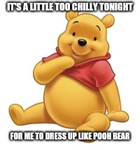 Best Halloween costume ever. | IT'S A LITTLE TOO CHILLY TONIGHT FOR ME TO DRESS UP LIKE POOH BEAR | image tagged in halloween | made w/ Imgflip meme maker