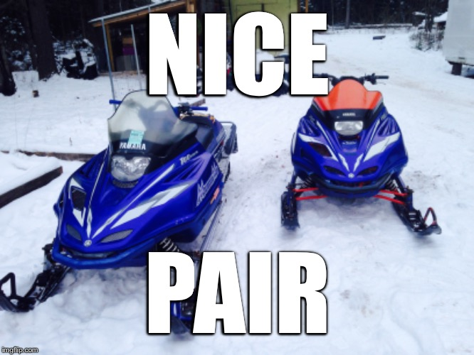 NICE PAIR | image tagged in snowmobile | made w/ Imgflip meme maker