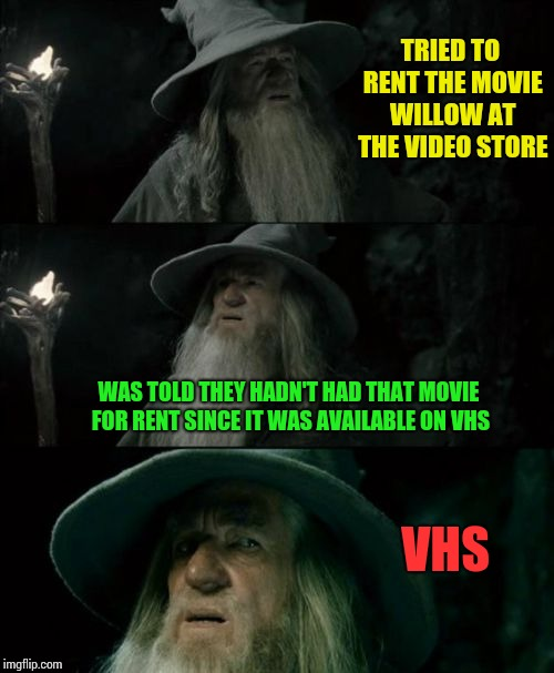 Confused Gandalf Meme | TRIED TO RENT THE MOVIE WILLOW AT THE VIDEO STORE WAS TOLD THEY HADN'T HAD THAT MOVIE FOR RENT SINCE IT WAS AVAILABLE ON VHS VHS | image tagged in memes,confused gandalf | made w/ Imgflip meme maker