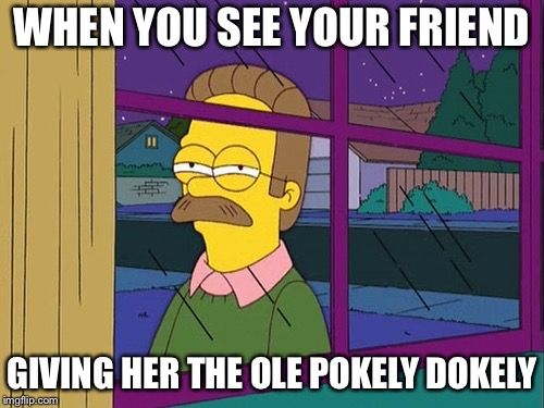 Ned Flanders | WHEN YOU SEE YOUR FRIEND GIVING HER THE OLE POKELY DOKELY | image tagged in ned flanders | made w/ Imgflip meme maker