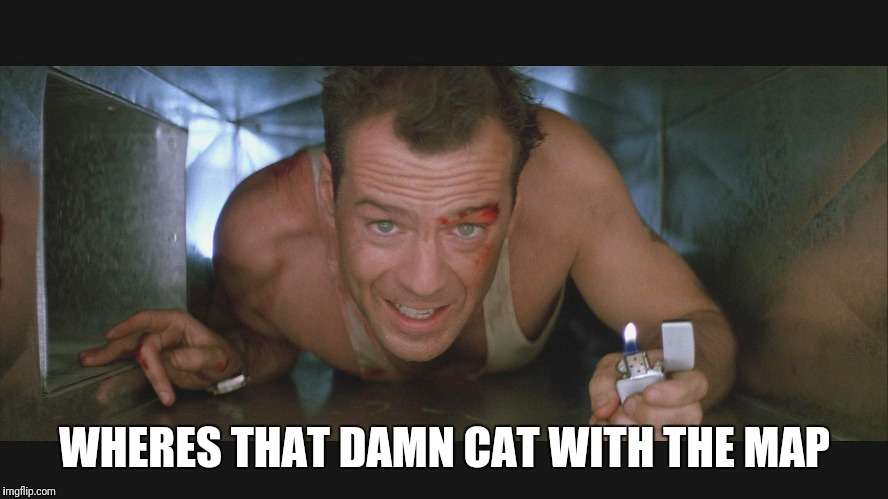 Bruce Willis duct | WHERES THAT DAMN CAT WITH THE MAP | image tagged in bruce willis duct | made w/ Imgflip meme maker