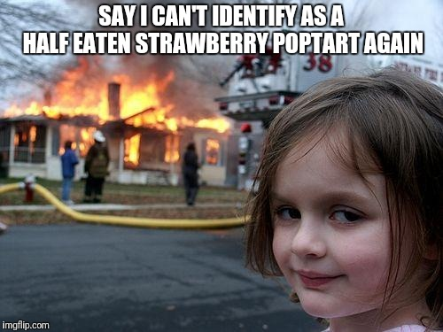Disaster Girl Meme | SAY I CAN'T IDENTIFY AS A HALF EATEN STRAWBERRY POPTART AGAIN | image tagged in memes,disaster girl | made w/ Imgflip meme maker