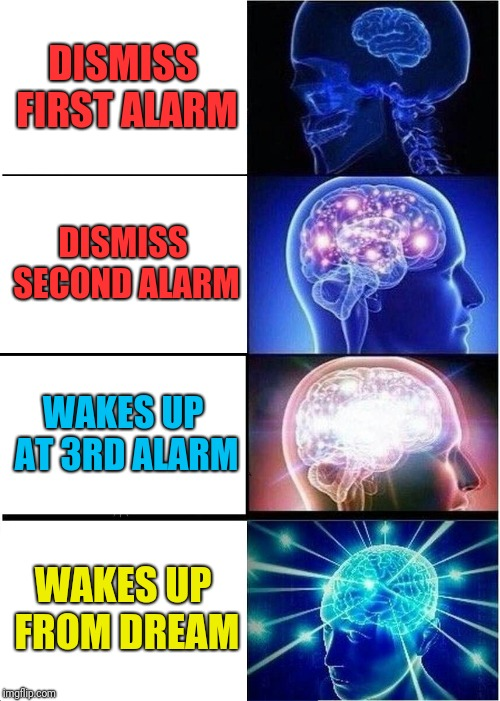 Expanding Brain Meme | DISMISS FIRST ALARM DISMISS SECOND ALARM WAKES UP AT 3RD ALARM WAKES UP FROM DREAM | image tagged in memes,expanding brain | made w/ Imgflip meme maker