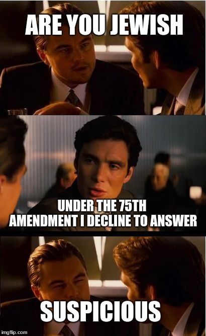 Inception Meme | ARE YOU JEWISH UNDER THE 75TH AMENDMENT I DECLINE TO ANSWER SUSPICIOUS | image tagged in memes,inception | made w/ Imgflip meme maker