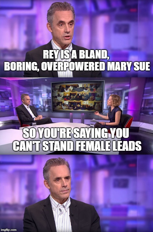 Jordan Peterson vs Feminist Interviewer | REY IS A BLAND, BORING, OVERPOWERED MARY SUE SO YOU'RE SAYING YOU CAN'T STAND FEMALE LEADS | image tagged in jordan peterson vs feminist interviewer | made w/ Imgflip meme maker
